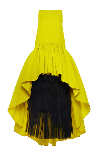 Medium martin grant yellow silk wool a line boatneck ruffle gown