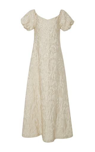 Medium rochas metallic jacquard off the shoulder gown