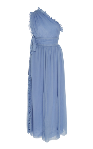 Medium rochas blue one shoulder plisse silk chiffon gown