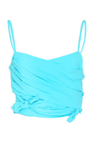 Medium emilio pucci turquoise knotted cropped top