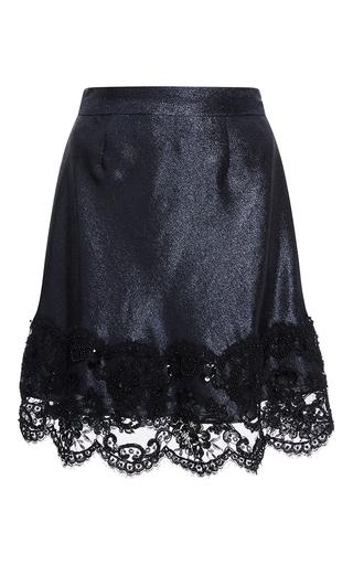 Medium cynthia rowley navy lace trim lame skirt