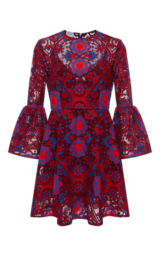 Medium cynthia rowley red lace ruffle sleeve dress