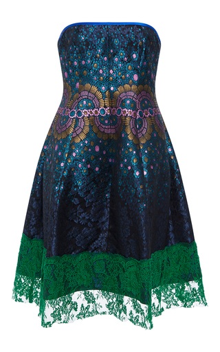 Medium cynthia rowley blue jacquard strapless dress