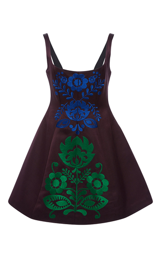 Medium cynthia rowley purple aubergine embroidered mini dress