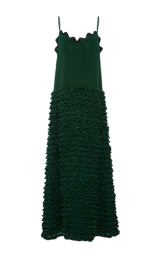 Medium cynthia rowley green ruffle slip maxi dress