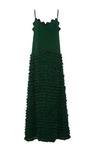 Medium cynthia rowley green ruffle slip maxi dress