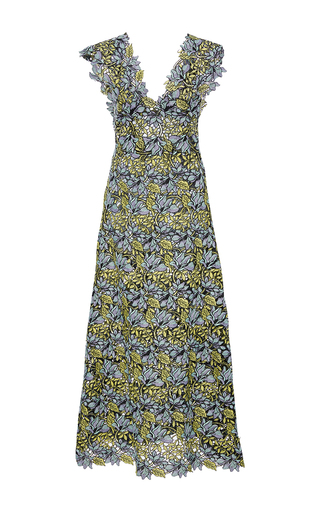 Medium cynthia rowley multi lace midi v neck dress