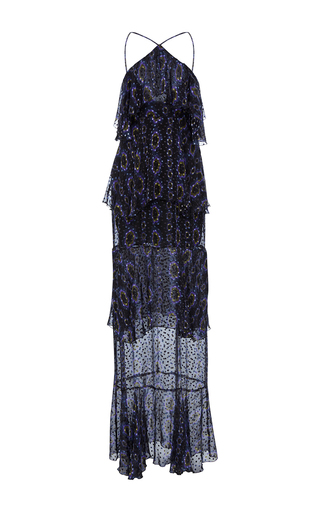 Medium cynthia rowley black silk tiered maxi dress