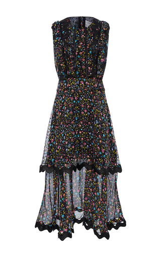 Medium cynthia rowley floral mini floral double flounce dress