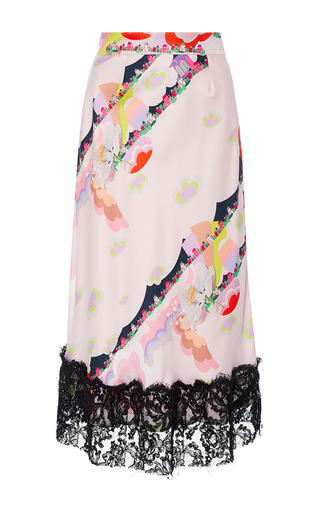 Medium cynthia rowley pink magic clouds lace trim skirt