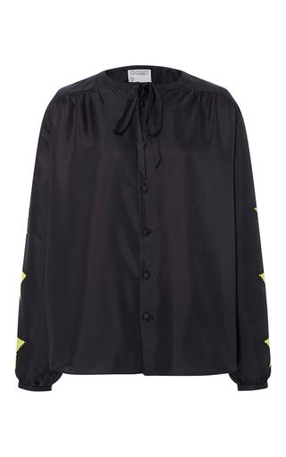 Medium cynthia rowley black silk applique tie blouse