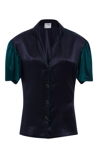 Medium cynthia rowley navy charmeuse color block blouse