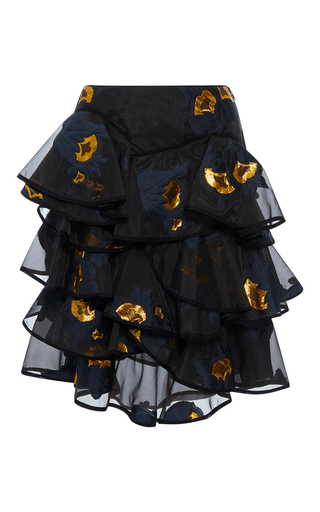 Medium cynthia rowley black metallic floral multi ruffle skirt