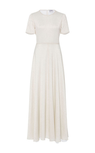 Medium cynthia rowley white lame maxi t shirt dress