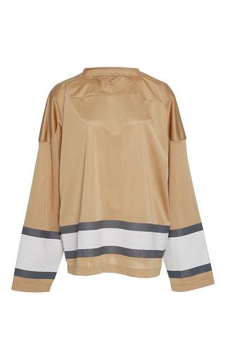 Medium band of outsiders tan vermont stripe ice hockey top
