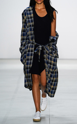 Medium band of outsiders navy joys plaid coat