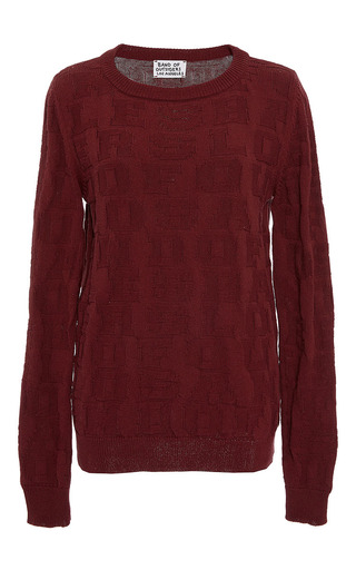 Medium band of outsiders burgundy kim crew neck jacquard top
