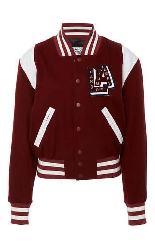 Medium band of outsiders burgundy jordi varsity blouson fitted jacket