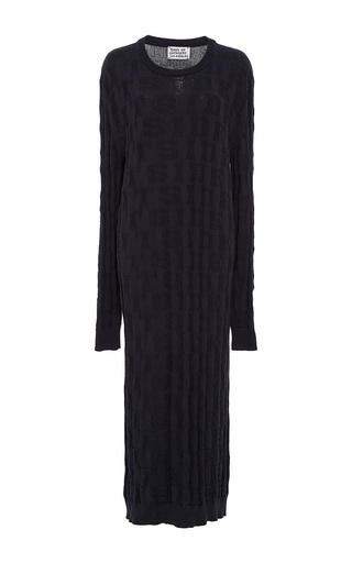 Medium band of outsiders navy kim crewneck jacquard dress