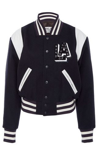 Medium band of outsiders navy jacky oversized baseball jacket