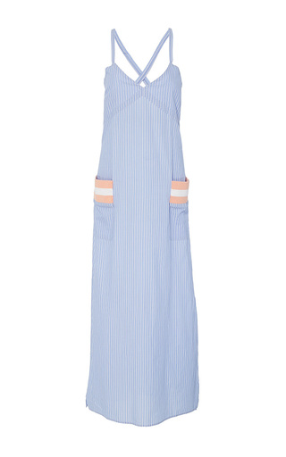 Medium band of outsiders blue kerie white trash dress