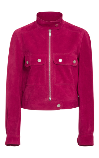 Medium courreges pink fushia suede cropped jacket