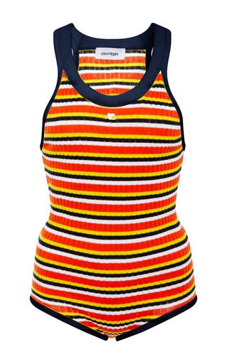 Medium courreges stripe classic knit tank bodysuit