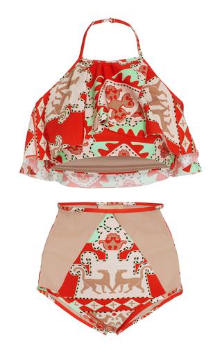 Medium adriana degreas red tapestry halter bikini set