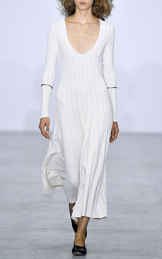 Medium barbara casasola white bahia long sleeve knit dress