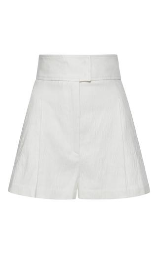 Medium barbara casasola white high waisted linen shorts