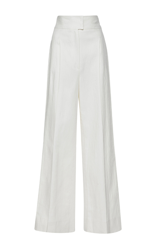 Medium barbara casasola white high waisted linen trousers