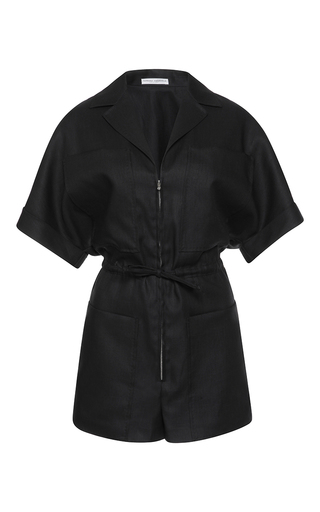 Medium barbara casasola black rio stretch linen jumpsuit