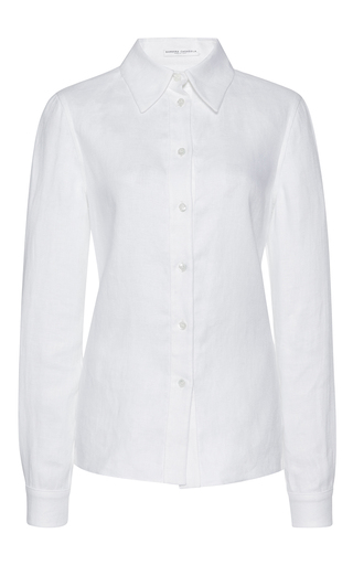 Medium barbara casasola white linen work shirt