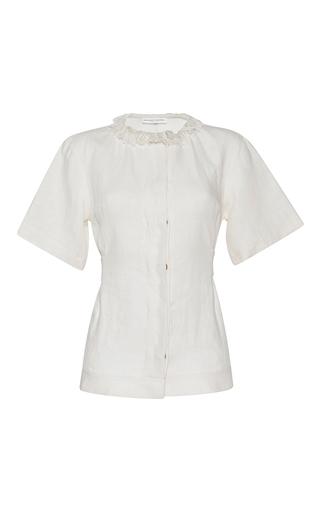 Medium barbara casasola white rio linen button top