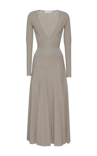 Medium barbara casasola light grey tribal v neck long sleeve knit dress