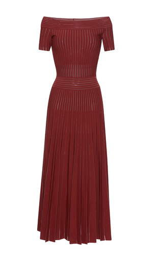 Medium barbara casasola red tribal off the shoulder knit dress