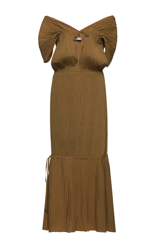 Medium barbara casasola brown off the shoulder pleated dress