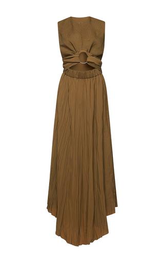Medium barbara casasola green sleeveless pleated ring dress