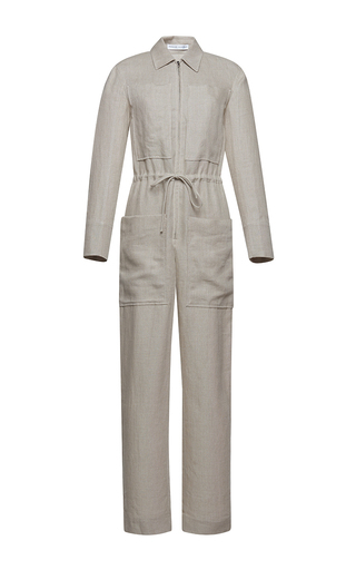 Medium barbara casasola light grey rio linen jumpsuit