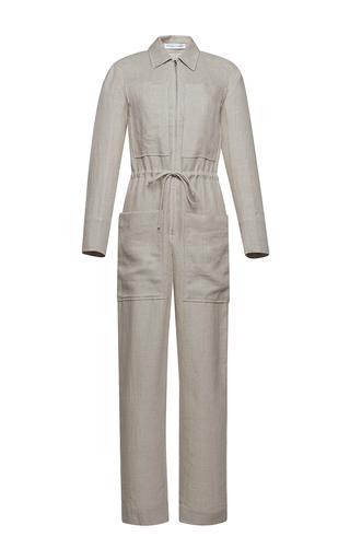 Medium barbara casasola light grey rio linen jumpsuit