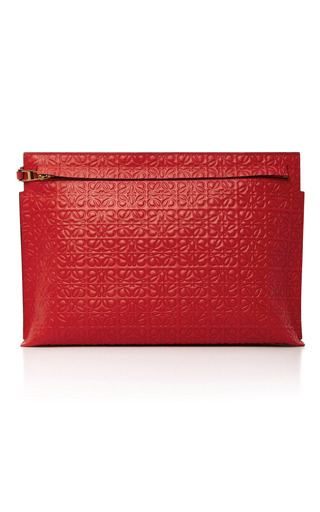 Medium loewe red t embossed leather clutch
