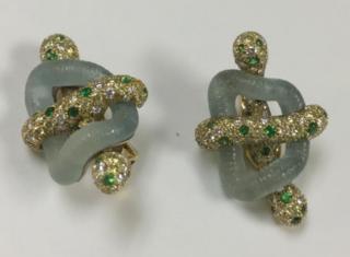 Medium nicholas varney blue aquamarine link earclips