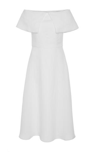 Medium tata naka white off the shoulder overlay a line dress