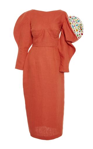Medium tata naka orange asymmetric puff sleeve sculpture dress