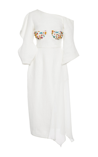 Medium tata naka white asymmetric one shoulder sculpture dress