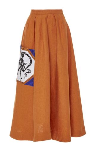 Medium tata naka brown a line skirt with beaded pocket