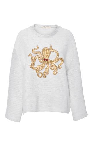Medium tata naka white long sleeve octopus embellished top