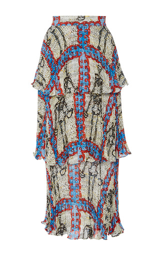 Medium tata naka print tiered pleated print skirt