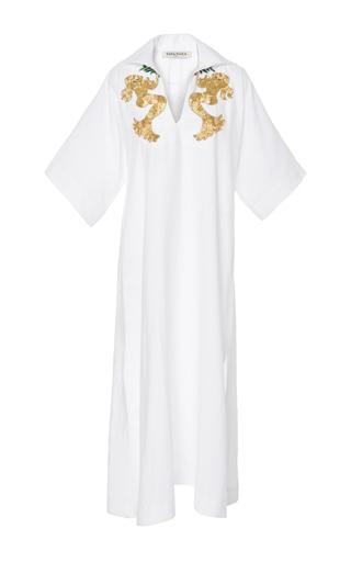 Medium tata naka white short sleeve kaftan with beaded applique