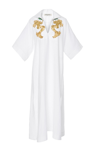 Medium tata naka white short sleeve kaftan with beaded applique